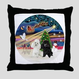 Xmas Magic - Poodles (TWO toy-BW) Throw Pillow