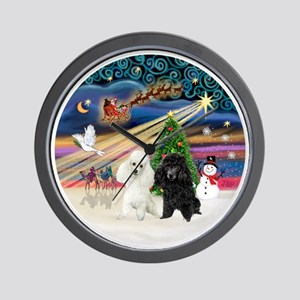 Xmas Magic - Poodles (TWO toy-BW) Wall Clock