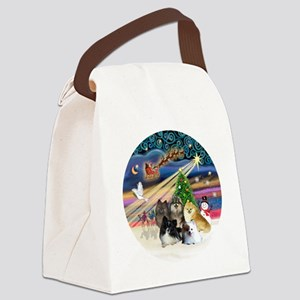 Xmas Magic - Pomeranians (FIVE) Canvas Lunch Bag