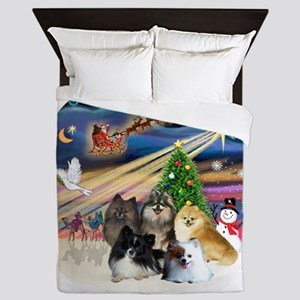Xmas Magic - Pomeranians (FIVE) Queen Duvet