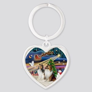 Xmas Magic - Shelties (TWO sable-wh Heart Keychain