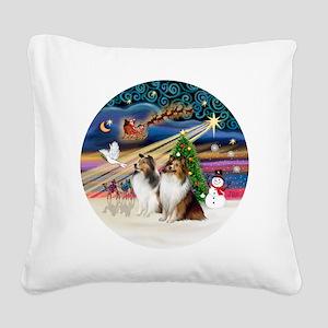 Xmas Magic - Shelties (TWO sa Square Canvas Pillow