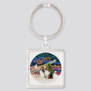 Xmas Magic - Shelties (TWO sable-w Square Keychain