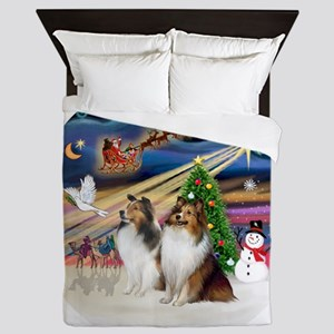 Xmas Magic - Shelties (TWO sable-white Queen Duvet