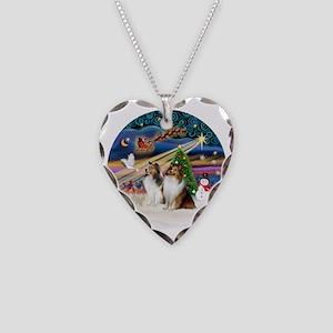 Xmas Magic - Shelties (TWO sa Necklace Heart Charm