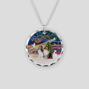 Xmas Magic - Shelties (TWO s Necklace Circle Charm