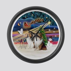 Xmas Magic - Shelties (TWO sable- Large Wall Clock