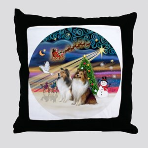 Xmas Magic - Shelties (TWO sable-whit Throw Pillow