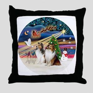Xmas Magic - Shelties (TWO sable-whit Throw Pillow