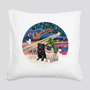 Xmas Magic - Pugs (TWO-fawn+B Square Canvas Pillow