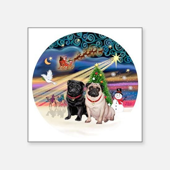 "Xmas Magic - Pugs (TWO-fawn Square Sticker 3"" x 3"""