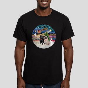 Xmas Magic - Pugs (TWO Men's Fitted T-Shirt (dark)