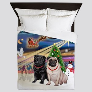Xmas Magic - Pugs (TWO-fawn+Black) Queen Duvet