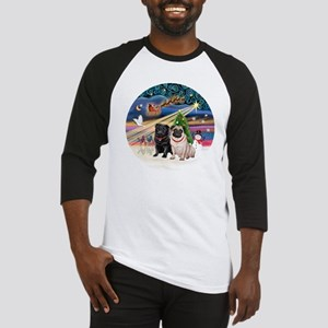 Xmas Magic - Pugs (TWO-fawn+Black) Baseball Jersey