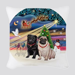 Xmas Magic - Pugs (TWO-fawn+Bl Woven Throw Pillow