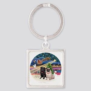 Xmas Magic - Pugs (TWO-fawn+Black) Square Keychain