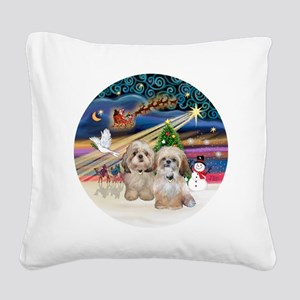 Xmas Magic - Shih Tzu (TWO -  Square Canvas Pillow