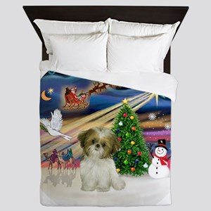 Xmas Magic - Shih Tzu Puppy (brown-whi Queen Duvet