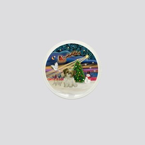 Xmas Magic - Shih Tzu Puppy (brown-whi Mini Button