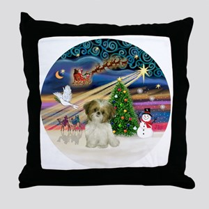 Xmas Magic - Shih Tzu Puppy (brown-wh Throw Pillow
