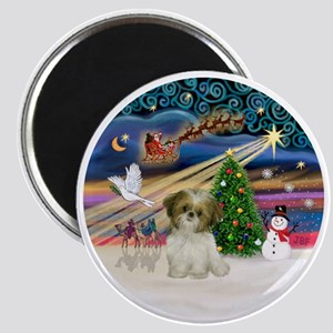 Xmas Magic - Shih Tzu Puppy (brown-white) Magnet