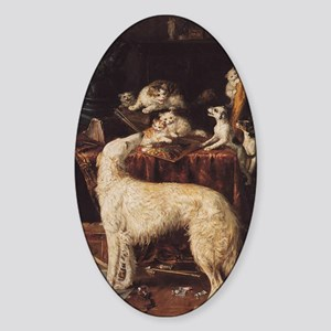 Borzoi And Cats Sticker (Oval)