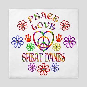 Peace Love Great Danes Queen Duvet