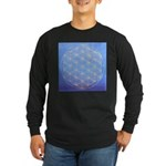 flower of life/gold on blue Long Sleeve Dark T-Shi