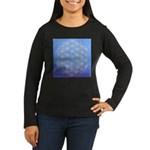 flower of life/gold on blue Women's Long Sleeve Da