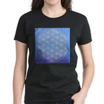 flower of life/gold on blue Women's Dark T-Shirt