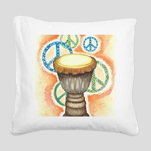 Peace Through Music Square Canvas Pillow