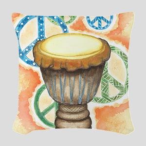 Peace Through Music Woven Throw Pillow
