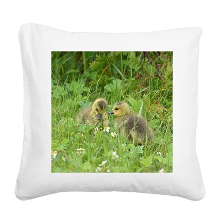 Goslings In Clover Square Canvas Pillow