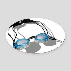 SwimmingGoggles091210 Oval Car Magnet