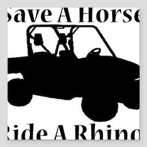 "Save Horse BLACK Square Car Magnet 3"" x 3"""