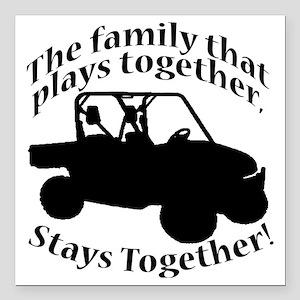 "Family Plays BLACK Square Car Magnet 3"" x 3"""