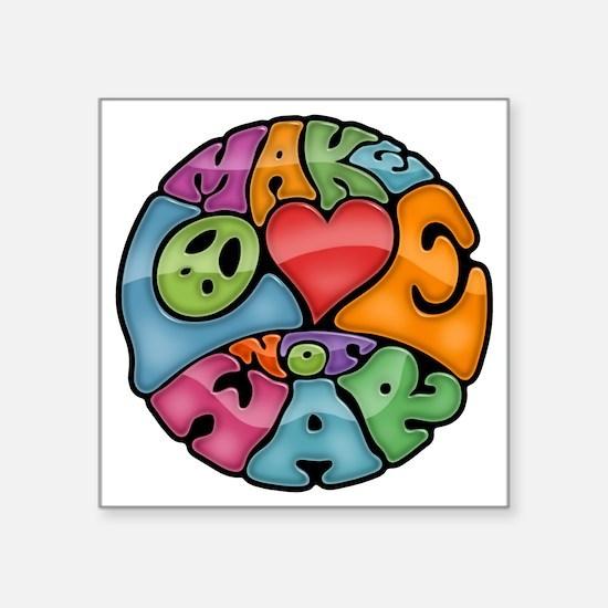 """make-love-col-T Square Sticker 3"""" x 3"""""""