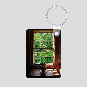 colonial Cottage Window 1 Aluminum Photo Keychain