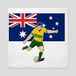 Rugby player kicking australia flag Queen Duvet