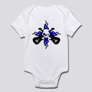 Two Guitars and Skull Tribal Flames Infant Bodysui
