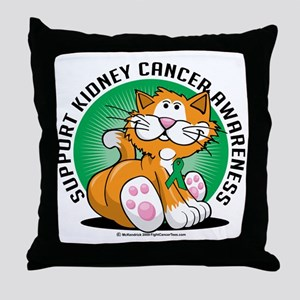 Kidney-Cancer-Cat Throw Pillow