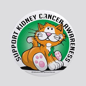 Kidney-Cancer-Cat Round Ornament
