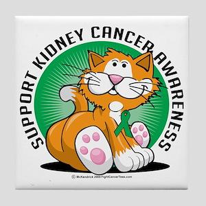 Kidney-Cancer-Cat Tile Coaster