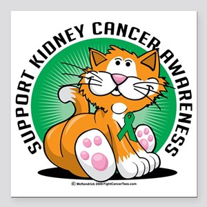 "Kidney-Cancer-Cat Square Car Magnet 3"" x 3"""
