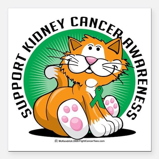 Kidney-Cancer-Cat Square Car Magnet 3" x 3"
