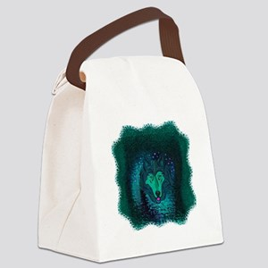Teal Wolf Canvas Lunch Bag