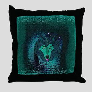 Teal Wolf Throw Pillow