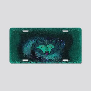Teal Wolf Aluminum License Plate