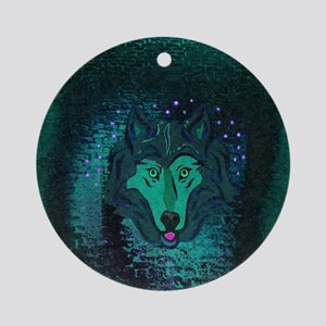 Teal Wolf Ornament (Round)