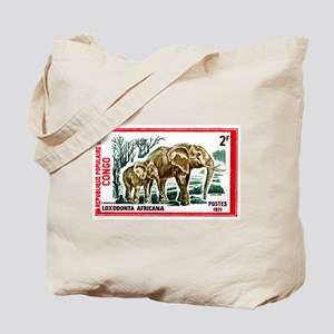 Vintage 1971 Congo Elephants Postage Stamp Tote Ba